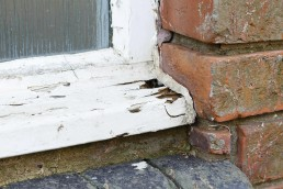 rotten old wooden window frame